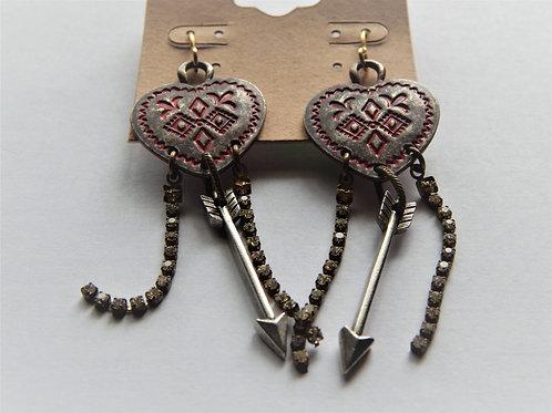 Earrings - Item E40 - Red Heart & Arrows - Muggie Jewelry
