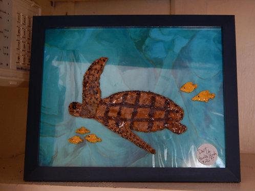 Resin Art - Sea Turtle & Fish on Glass - Bernie Graham