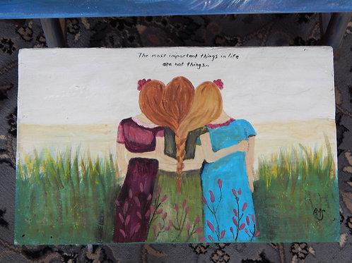 "Sisters / Friends Stool - 18"" x 16"" - Alberta Sulik"