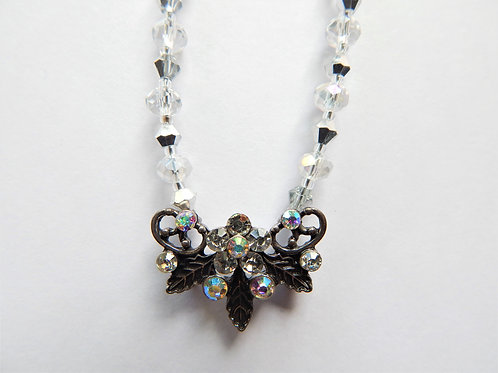 Necklace - Smoky Leaf Butterfly Shape - The Sparkling Thistle