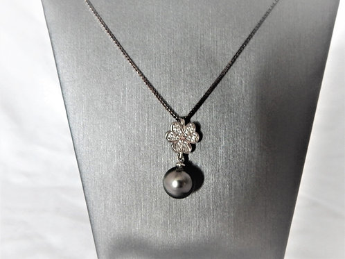 Necklace - Tahitian Black Pearl on Sterling Silver - P007