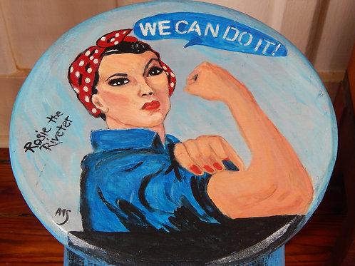 "Rosie the Riveter Stool - 12"" x 24.75"" - Alberta Sulik"