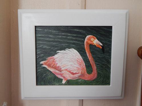 """Wading Flamingo - 14"""" x 12"""" - Karen French"""