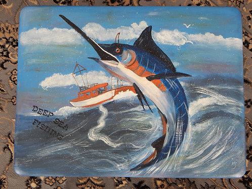 "Deep Sea Fishing Table - 24"" x 19"" - Alberta Sulik"