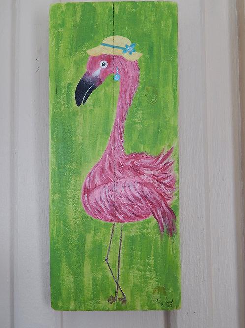 """Girly"" Flamingo on Pallet - 7"" x 16"" - Karen French"