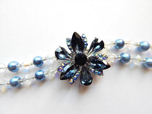Bracelet - Double Strand - Dark Blue Crystal Flower - The Sparkling Thistle
