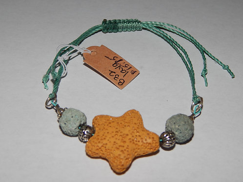 Bracelet - B32- Adjustable Yellow Star / Green Lava Stone - Muggie Jewelr