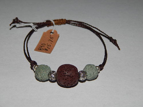 Bracelet - B40- Adjustable Brown / Green Lava Stone - Muggie