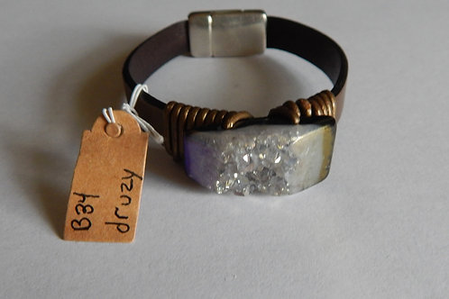 Bracelet - B34 - Leather Large Druzy - Muggie Jewelry