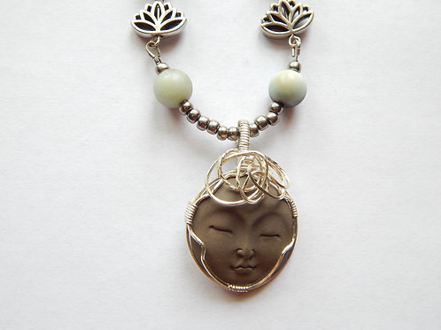 Necklace - Wire Wrapped Face / Amazonite - Muggie Jewelry