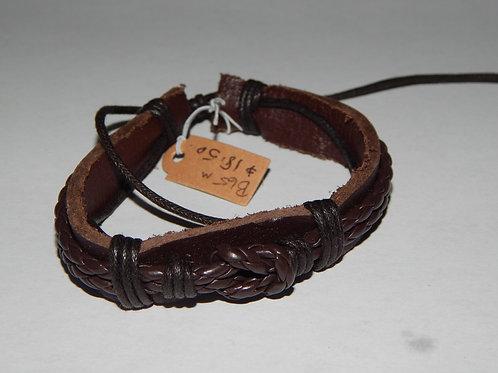 Mens Bracelet - B65M- Adjustable Braided Leather  - Muggie Jewelry