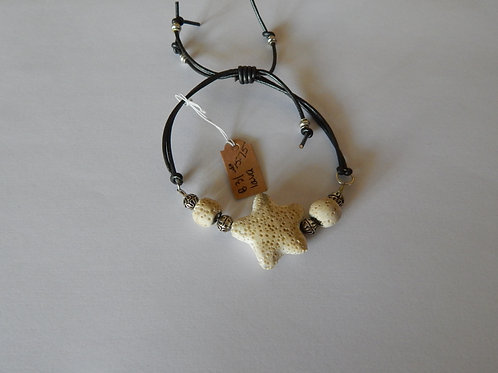 Bracelet - B31 - Adjustable Lava Stone White Star / Muggie Jewelry