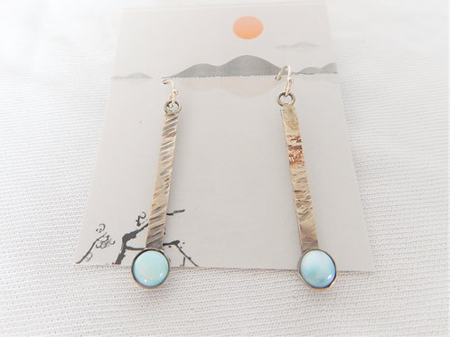 Earrings - Sterling Silver Dangles w/Larimar - Classic Makings