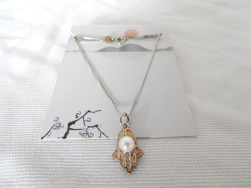 """Necklace - P027 - Sterling Silver Hamsa (Hand) with Pearl 16"""" - Classic Makings"""