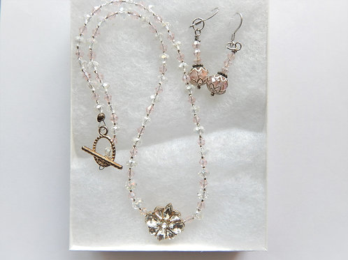 Set - Clear Flower / Pink & Clear Bead - The Sparkling Thistle
