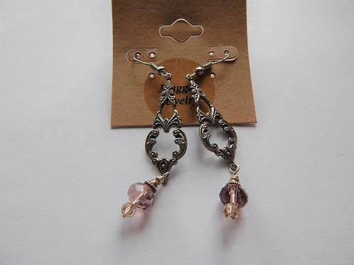 Earrings - Item E21 - Chandelier / Pink Crystal - Muggie Jewelry