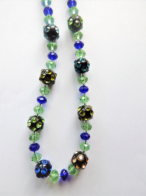Necklace - Green / Blue Czech Bead - The Sparkling Thistle