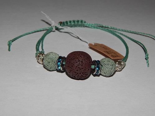 Bracelet - B39- Adjustable Brown / Green Lava Stone - Muggie