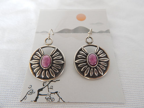 Earrings - E046 - Patterned Sterling Silver with Natural Ruby - Classic Makings