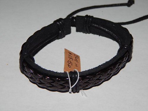 Mens Bracelet - B64M- Adjustable Braided Leather  - Muggie Jewelry