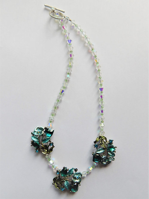 Necklace - Teal Flowered (3) w / Clear Beading - The Sparkling Thistle
