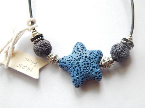 Necklace - Choker Lava Rock - Blue Star - Muggie Jewelry