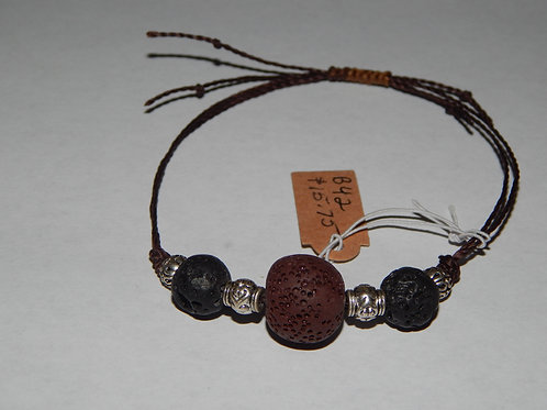 Bracelet - B42 - Adjustable Black /Brown Lava Stone - Muggie Jewelry