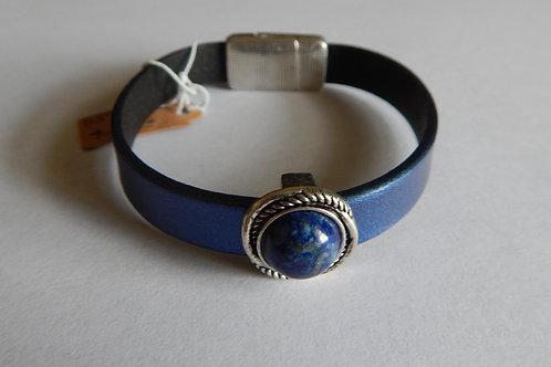 Bracelet - B57 - Navy Leather / Lapis Bead - Muggie Jewelry