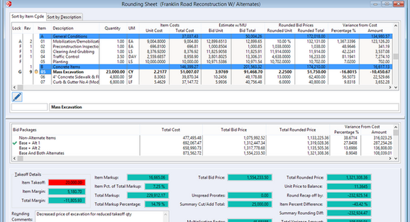 The Rounding Sheet provides for automatic rounding or balancing of unit prices as well as manually adjusting individual bid prices; For jobs with alternates, totals are displayed for each defined bid package; Prices can also be locked as they are given to