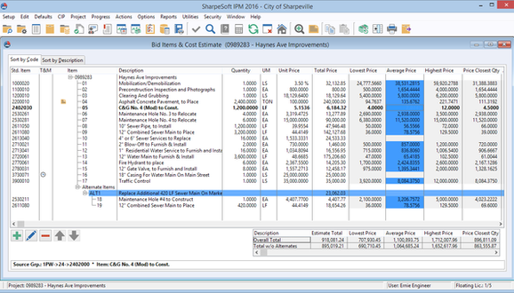Enter the project's bid items and quantities and generate an engineer's estimate from historic bid pricing, percentage of total, or a manual estimated cost breakdown.