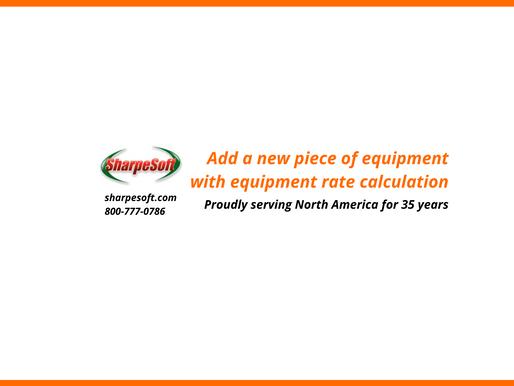 SharpeSoft Estimator: Add a new piece of equipment