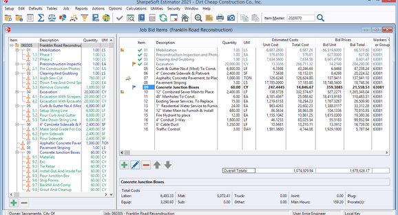 The Bid Items window lists all of the items to be included on the proposal or entered into the bid book; The Bid-Item Tree on the left allows for fast navigation; The selected item's cost breakdown is displayed at the bottom.