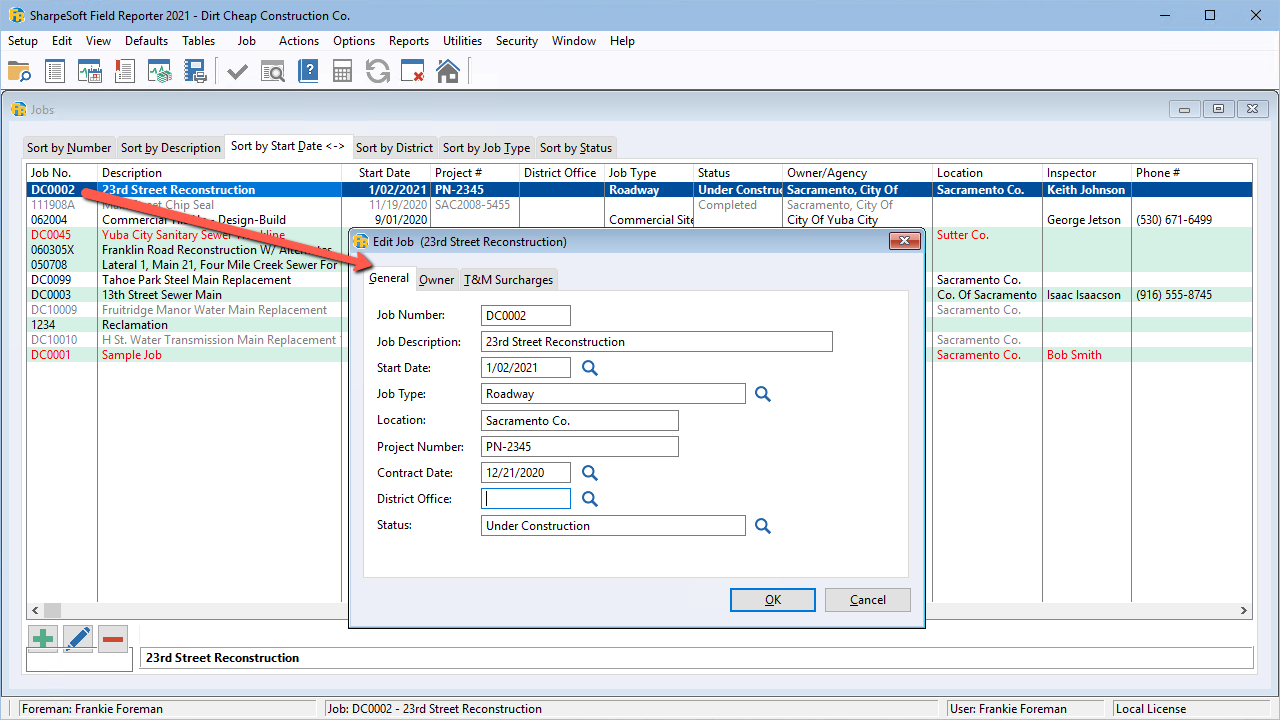 Jobs are automatically created when importing the original estimate from the SharpeSoft Estimator; Additional relevant information can be added or updated as needed.