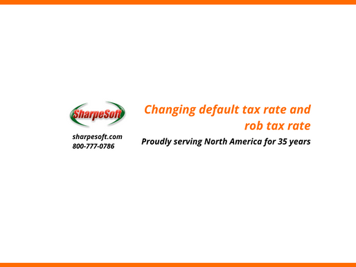 SharpeSoft Estimator: Changing default tax rate and job tax rate