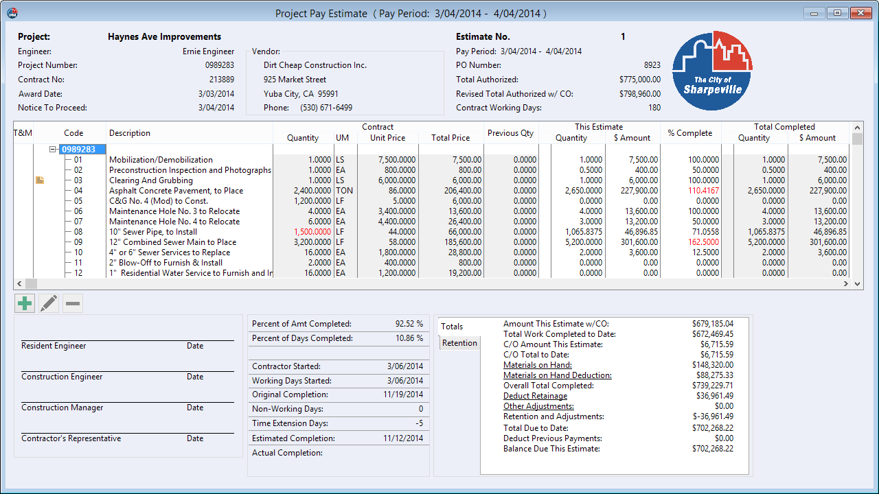 Progress Pay Estimates are automatically generated from the daily progress; Materials-on-Hand, retention, and other adjustments can also be tracked.