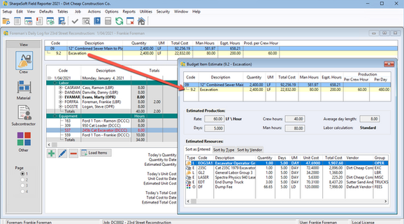 The Budget Item Estimate is the original estimate of the selected item or sub-item (created in the SharpeSoft Estimator) for comparison with the actual resources used and their production rates.
