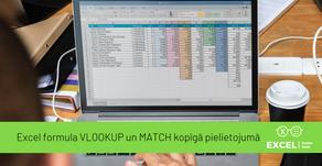 Excel formula VLOOKUP un MATCH kopīgā pielietojumā
