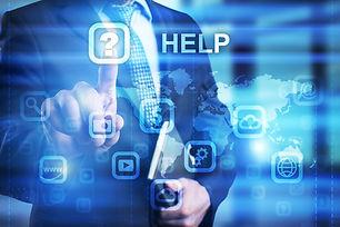 Businessman pressing HELP icon on virtua