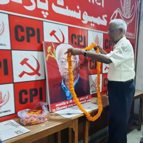 CPI General Secretary D RAJA paying tributes to Com. A.B. Bardhan, former Party general secretary