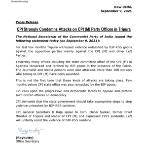 CPI Strongly Condemns Attacks on CPI (M) Party Offices in Tripura