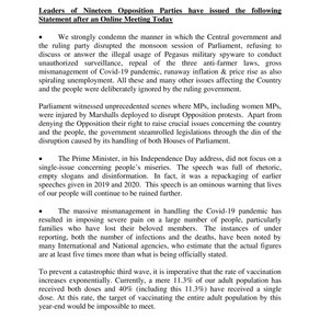 19 Opposition Parties Joint Statement