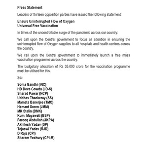 13 Opposition Parties Statement: Uninterrupted Oxygen, Free Vaccines