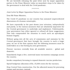 Joint Letter by Major Opposition Parties to the Prime Minister