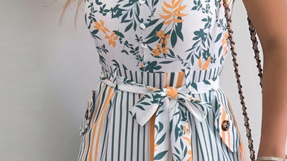 The Phoebe Floral Striped Romper