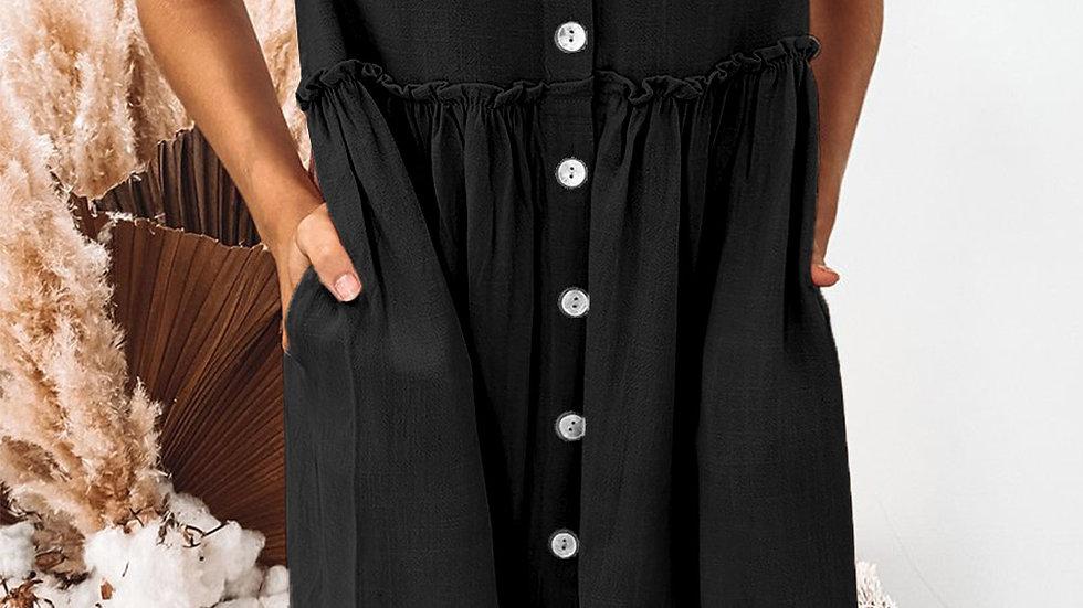 The Rachel Baby Doll Swing Dress - Black