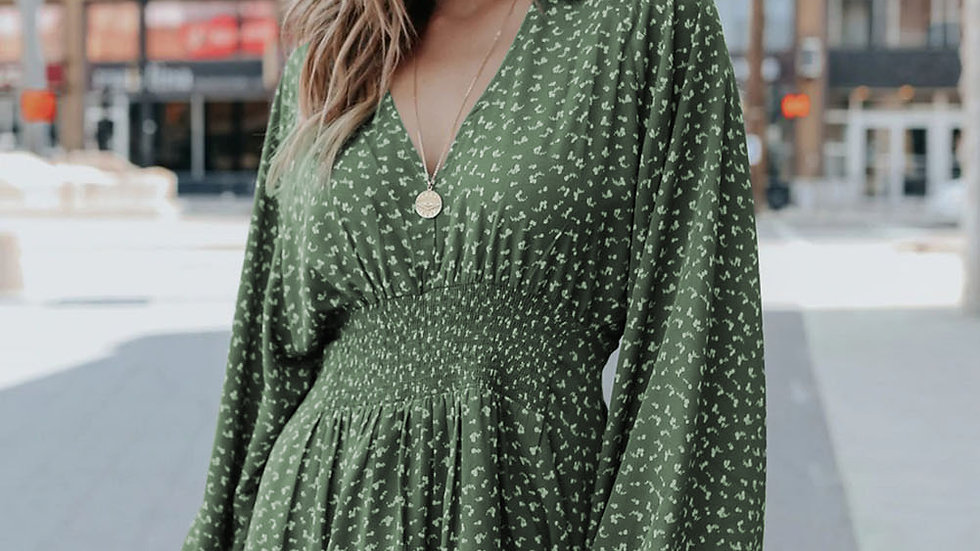 The Monica Smocked V Neck Dress
