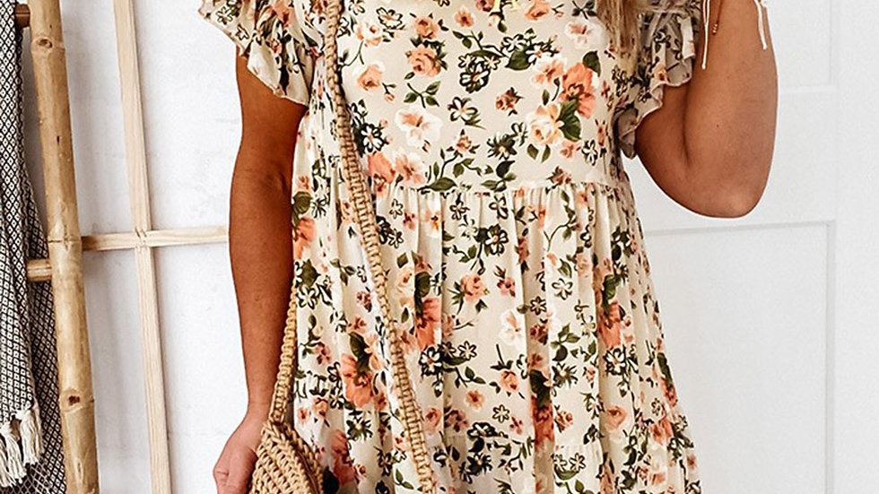 The Kate Apricot Floral Printed Dress