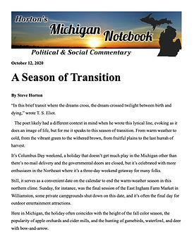 Horton's Michigan Notebook-- Oct. 11, 20