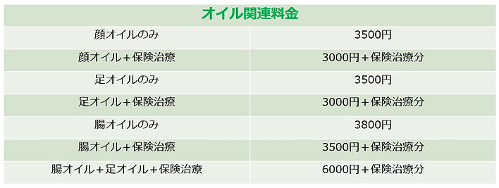 前田はりきゅう整骨院、保険外治療オイル関連料金