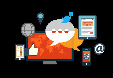 sosyal medya platformlarının sembollerini içeren bir fotoğraf